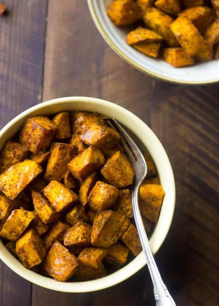 Maple Curry Roasted Sweet Potatoes