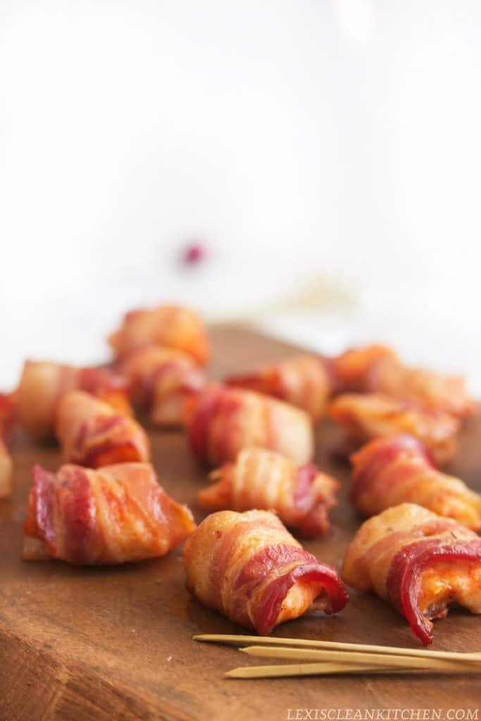 Bacon Wrapped Sriracha Lime Chicken Bites