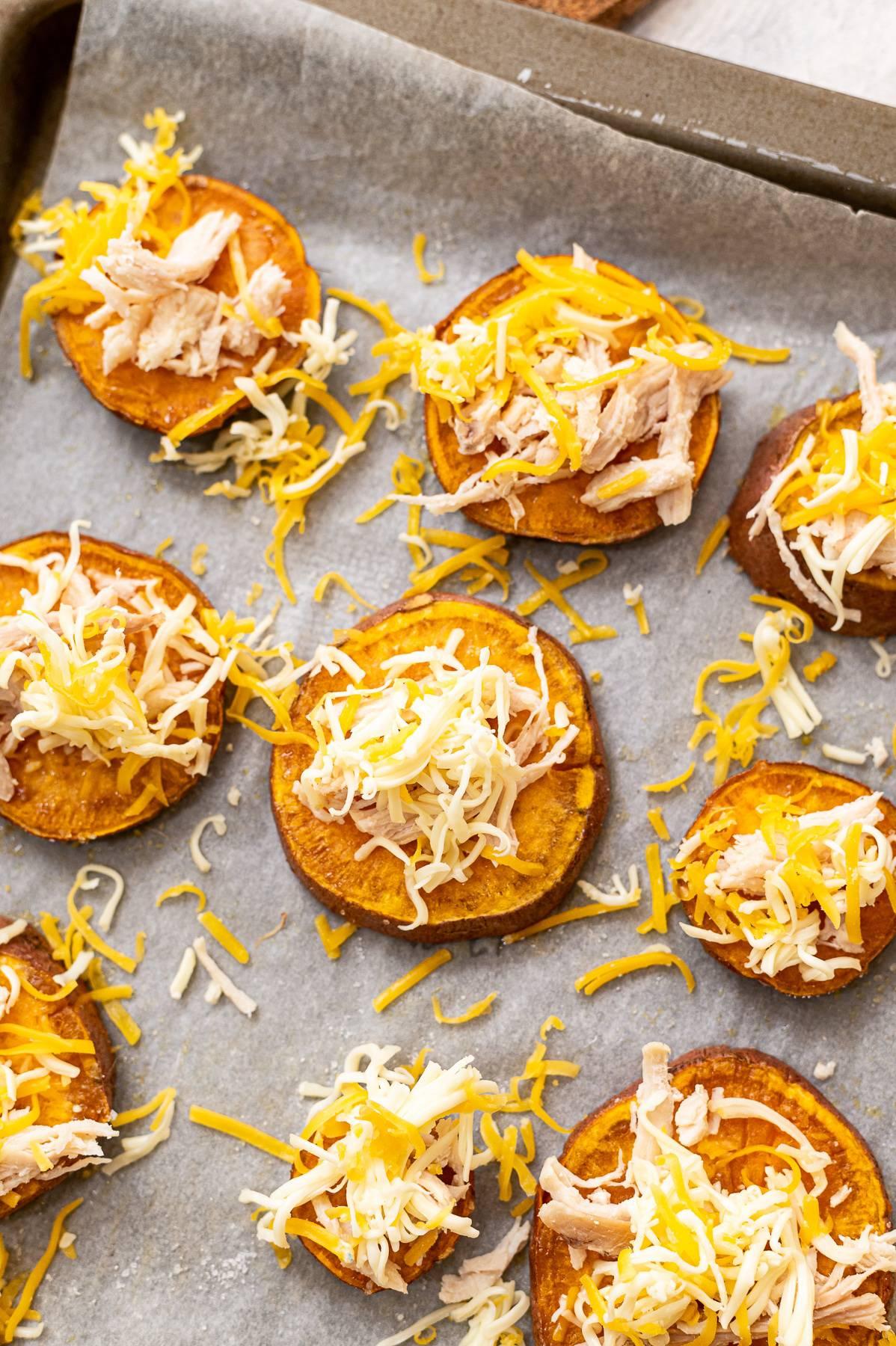 A tray of nacho sweet potato sliders.