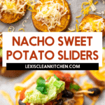 Sweet potato sliders with nacho toppings.