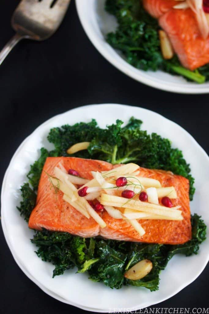 Roasted Salmon Kale Apple Fennel Salad
