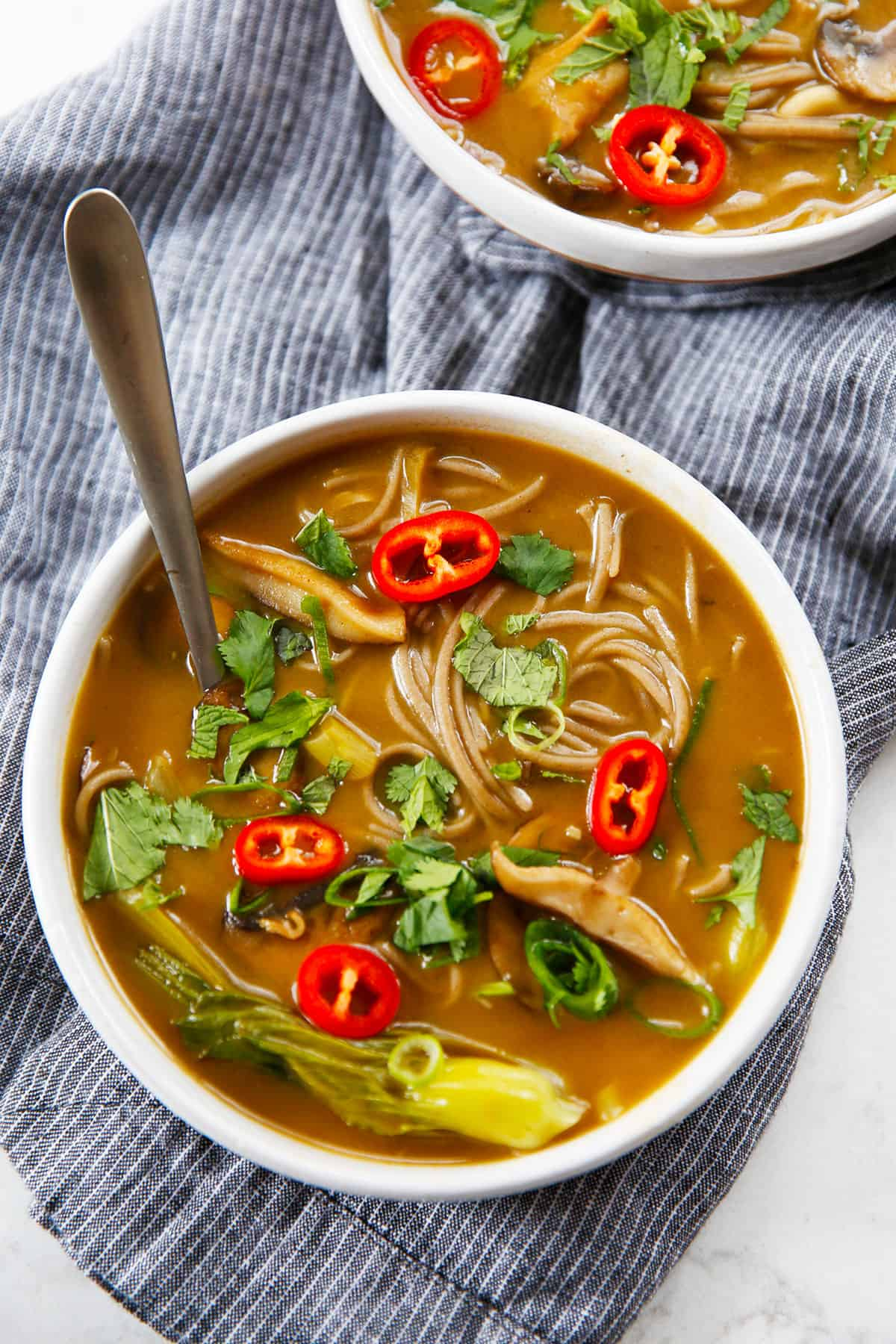 Spicy noodle soup in a bowl.