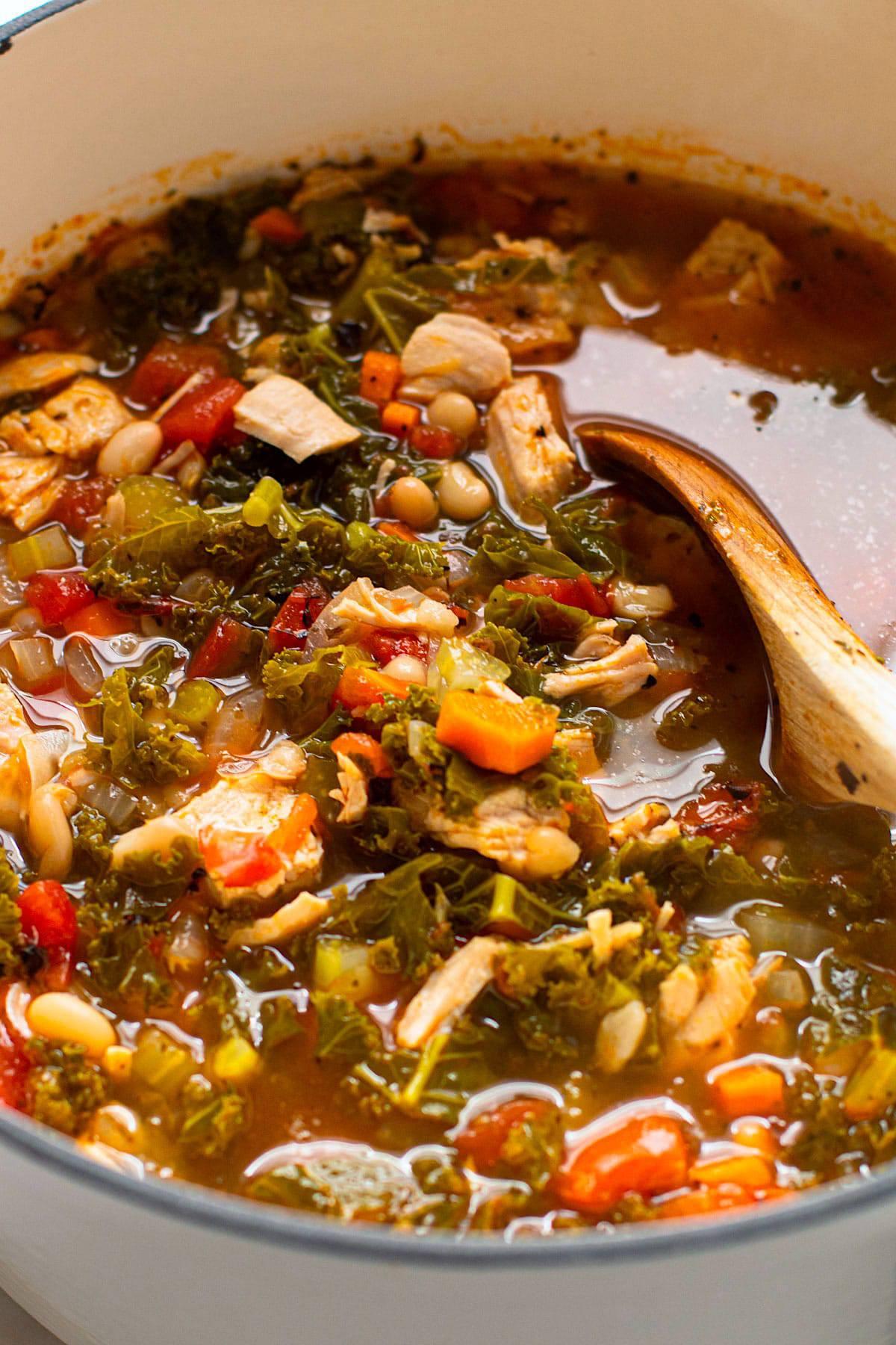 A pot of turkey kale soup.