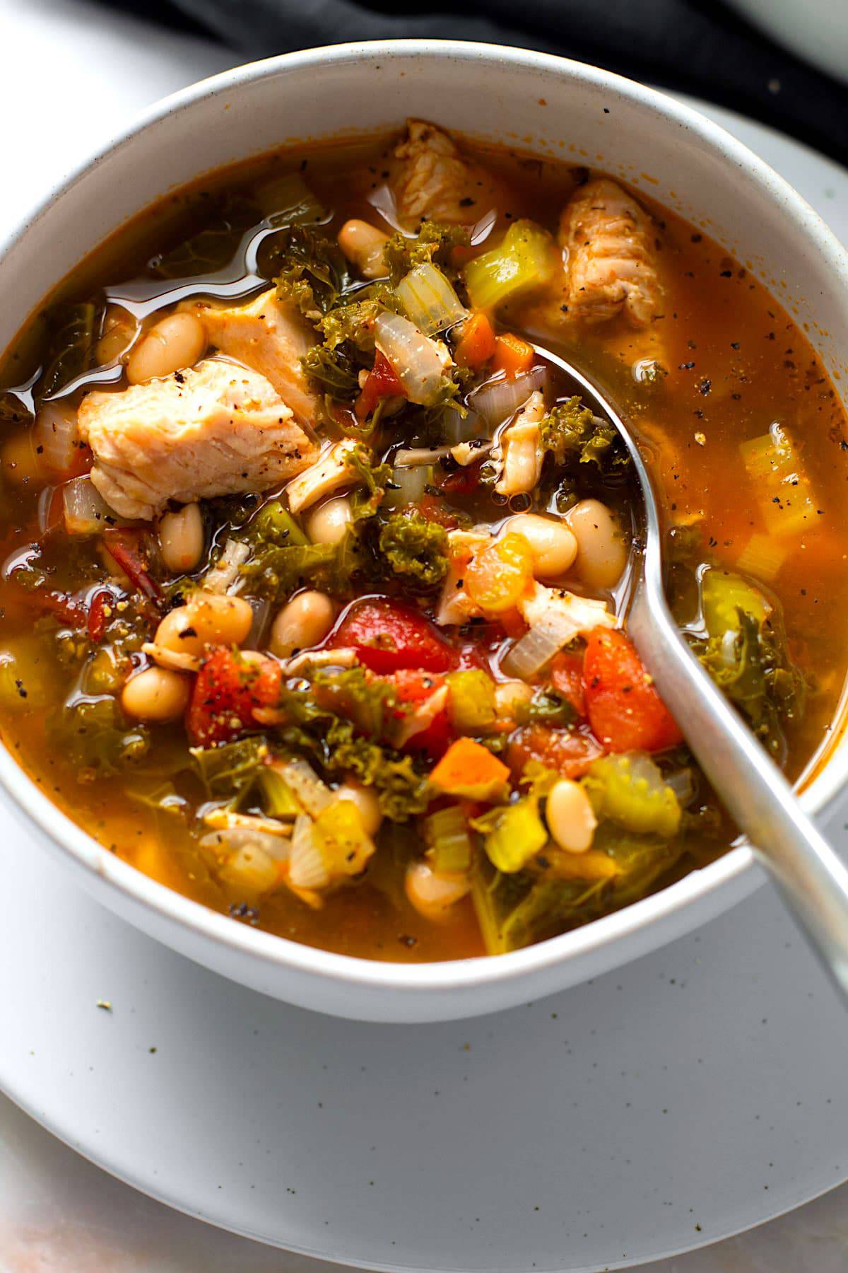 Leftover turkey soup with kale.