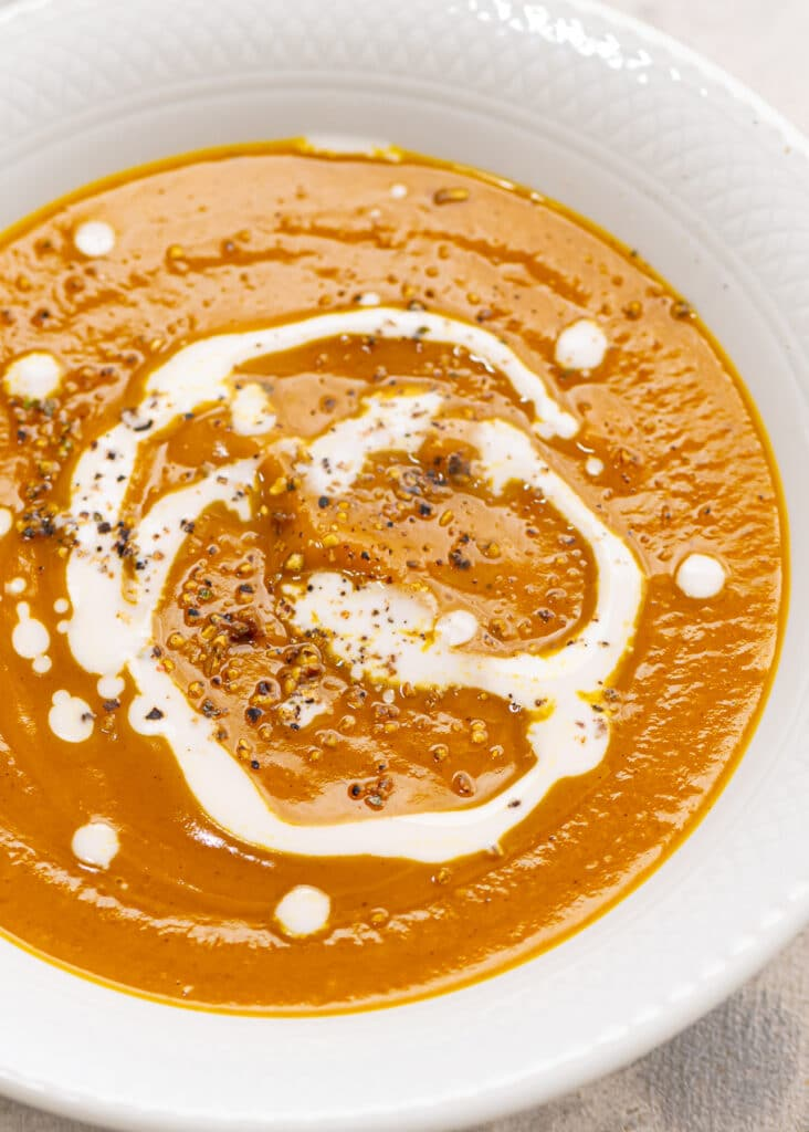 Curry butternut squash soup in a bowl.