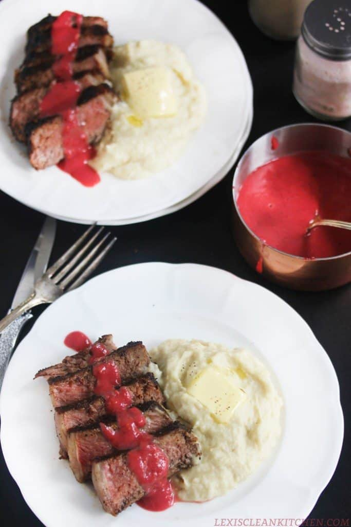 Coffee-Rubbed NY Strip Steak with Berry Sauce & Parsnip Mash