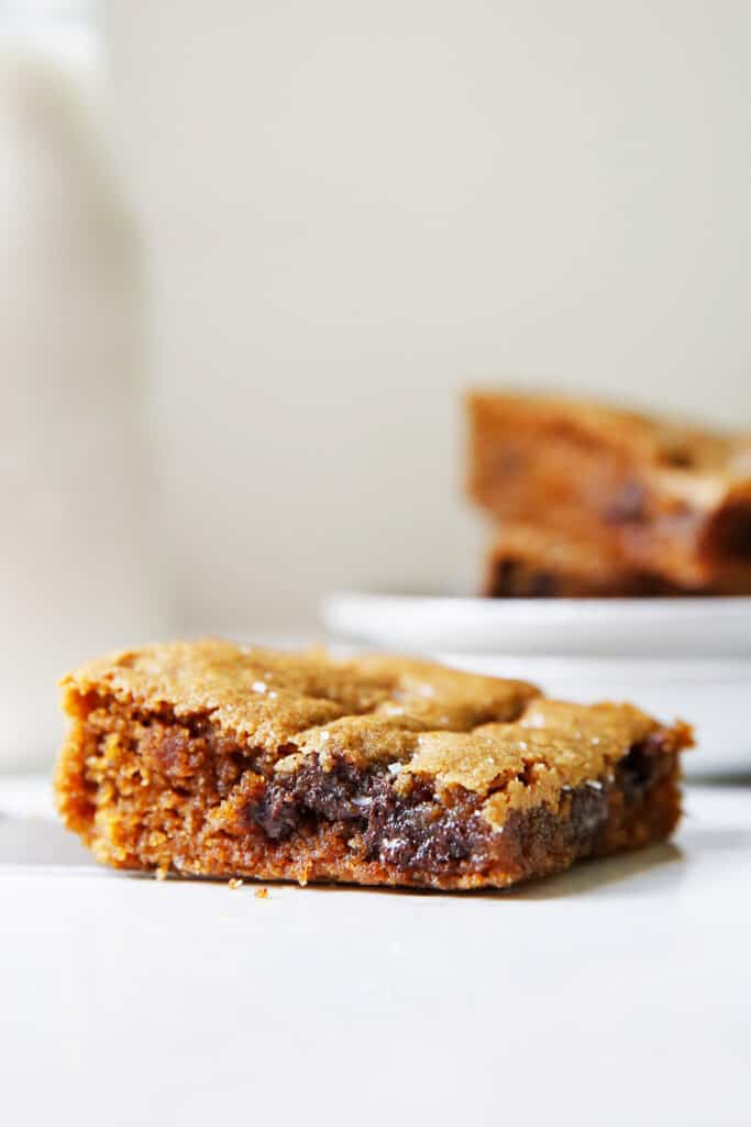 Gluten free cookie bar with a gooey middle.