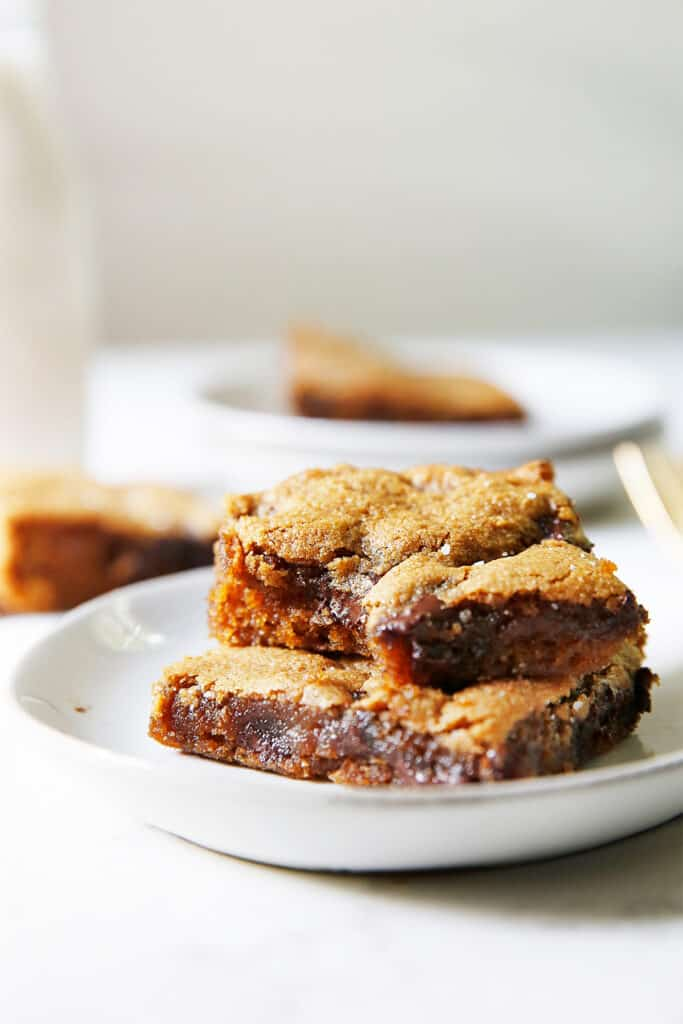 Gooey gluten-free chocolate chip cookie bars.