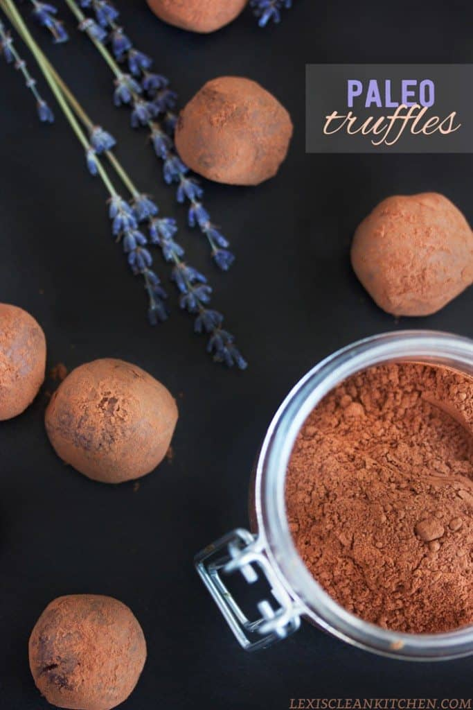 Paleo Chocolate Truffles rolled in cocoa powder
