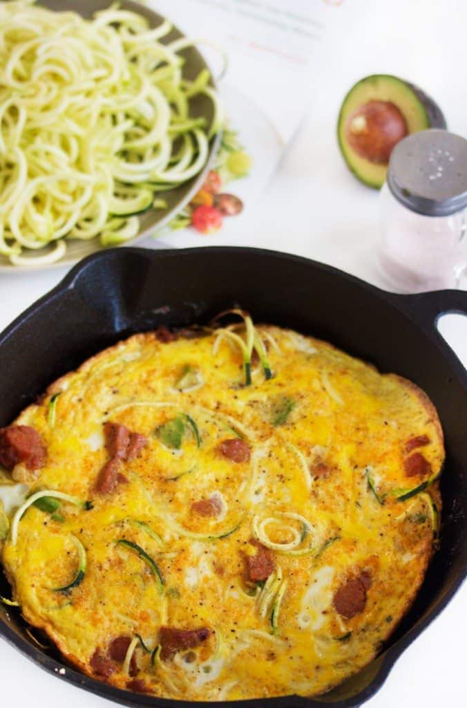 Chorizo and Avocado Zucchini Frittata Recipe from the Inspiralized Cookbook and a GIVEAWAY