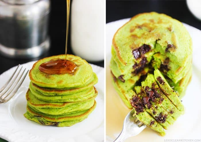 GREEN St. Patty's Day Pancakes - Colored with HIDDEN VEGGIES + paleo-friendly! | Lexi's Clean Kitchen