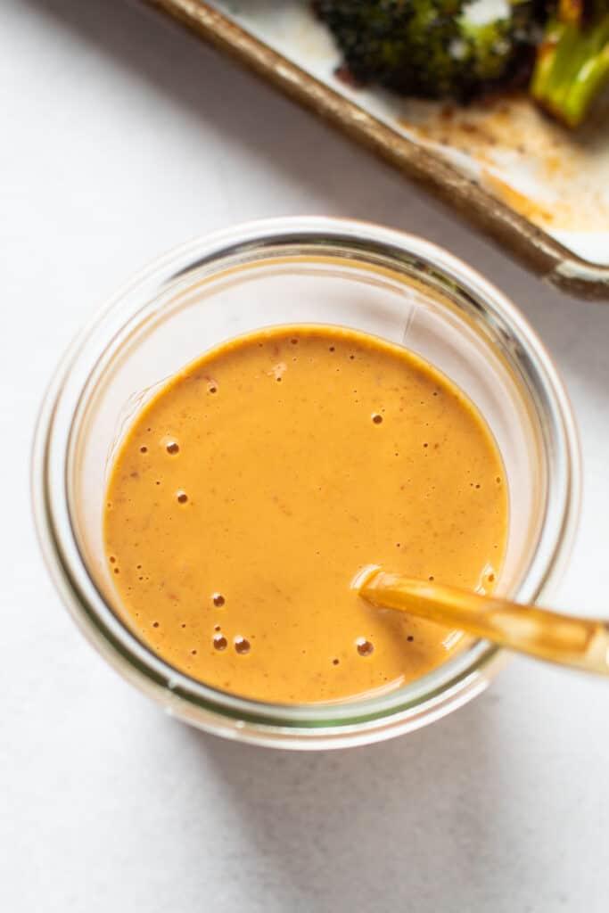 Peanut Chili dressing in a jar.