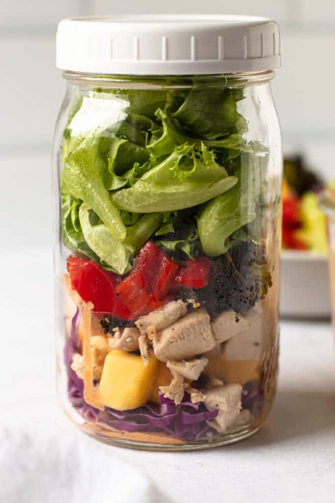 Thai chopped chicken salad in a mason jar.
