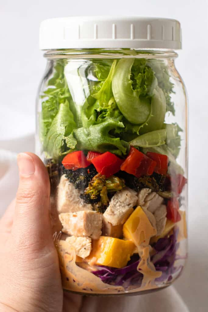 Layers of Thai chopped chicken salad.