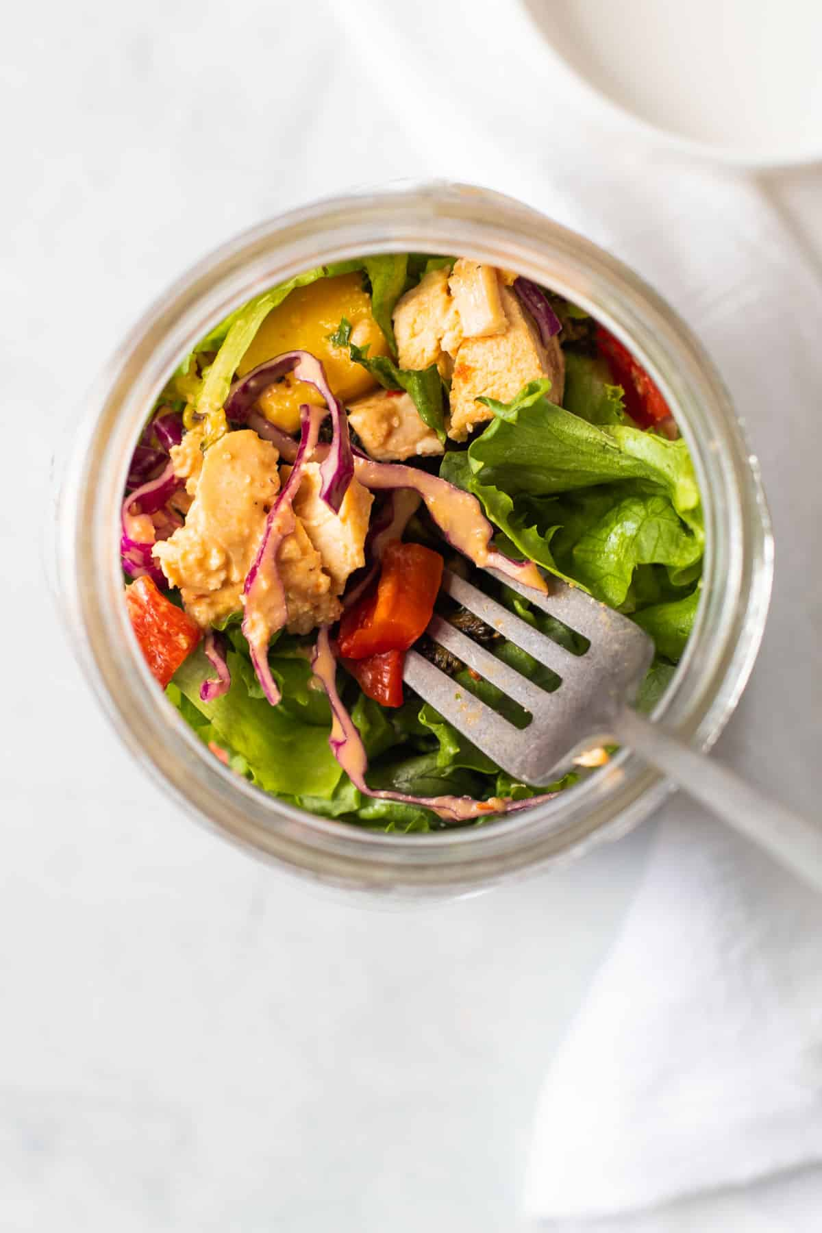 Mason jar thai chicken salad.