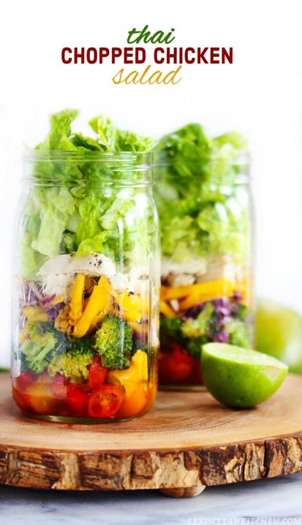 Thai Chopped Chicken Mason Jar Salad with Chili Vinaigrette