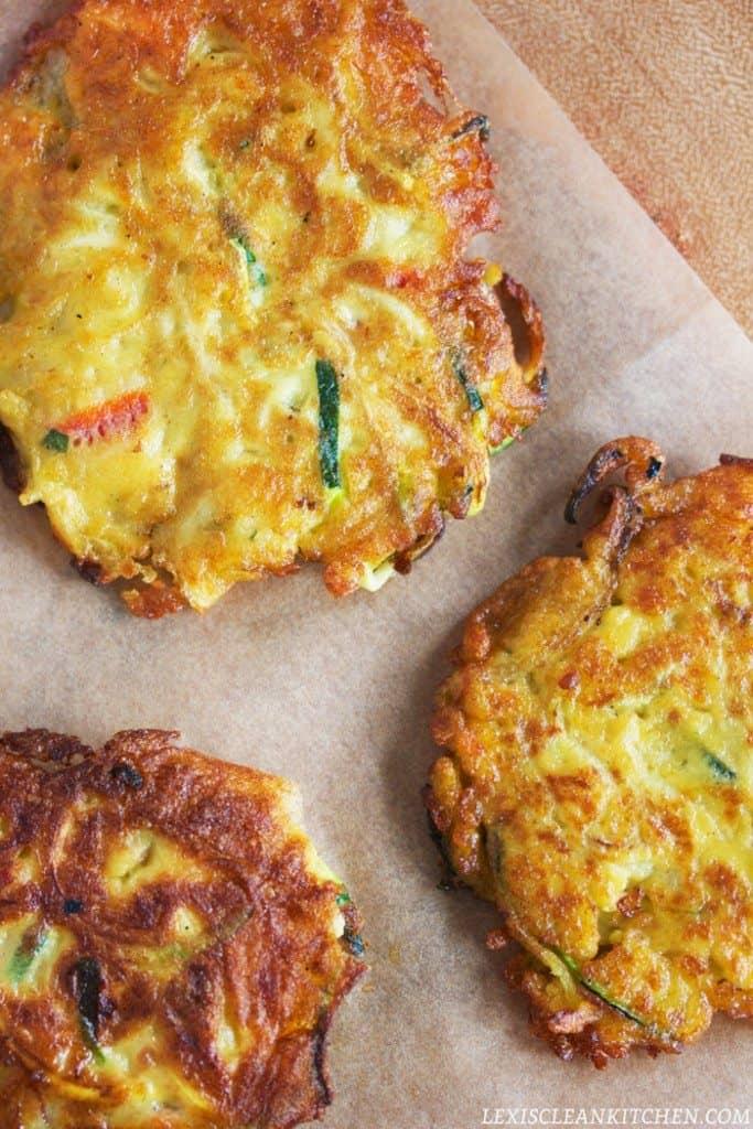 Paleo Tomato Basil Veggie Fritters
