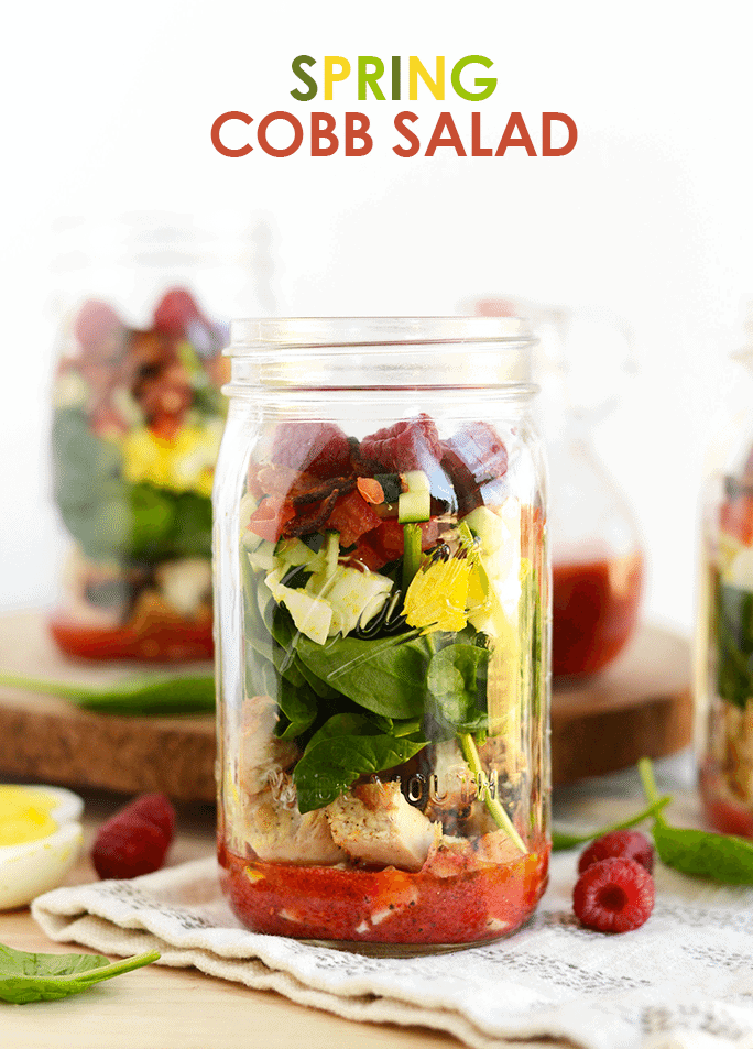 No Time To Make A Healthy Lunch I Think Not Prep The Ingredients For This Spring Cobb Salad And Arrange It In A Mason Jar For Easy Access During The Week
