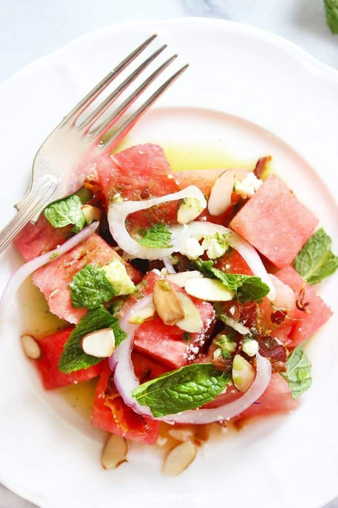 Watermelon Salad with Basil-Ginger Dressing