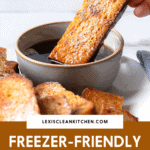 Baked French toast sticks being dipped into maple syrup with a text overlay.
