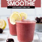 Cherry lemonade smoothie in glasses.