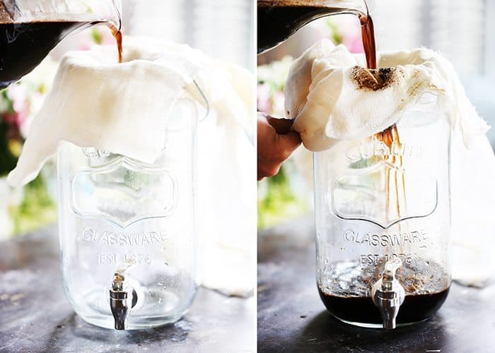 Cold brew with cheesecloth