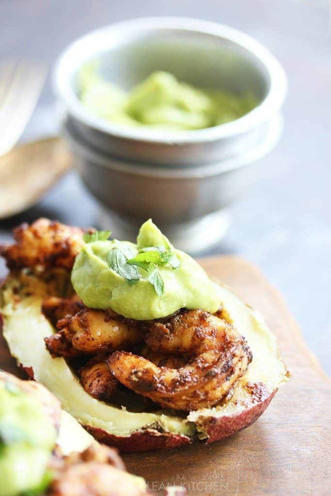 Spicy Shrimp Sweet Potato Boats with Avocado Crema - Lexi's Clean ...