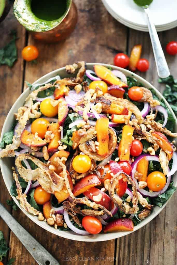 Kale Caramelized Peaches And Crispy Onion Salad Lexi S Clean Kitchen