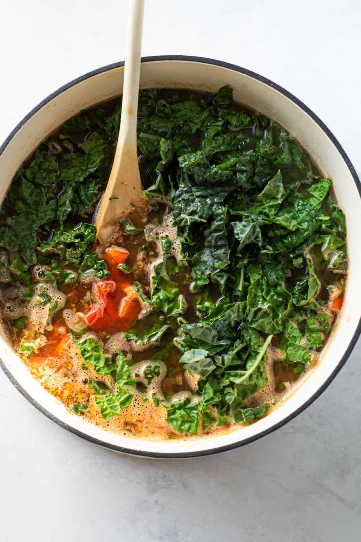 Kale in a meatball veggie soup.