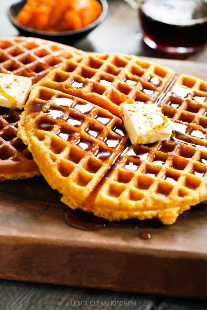 Almond Flour Pumpkin Waffles