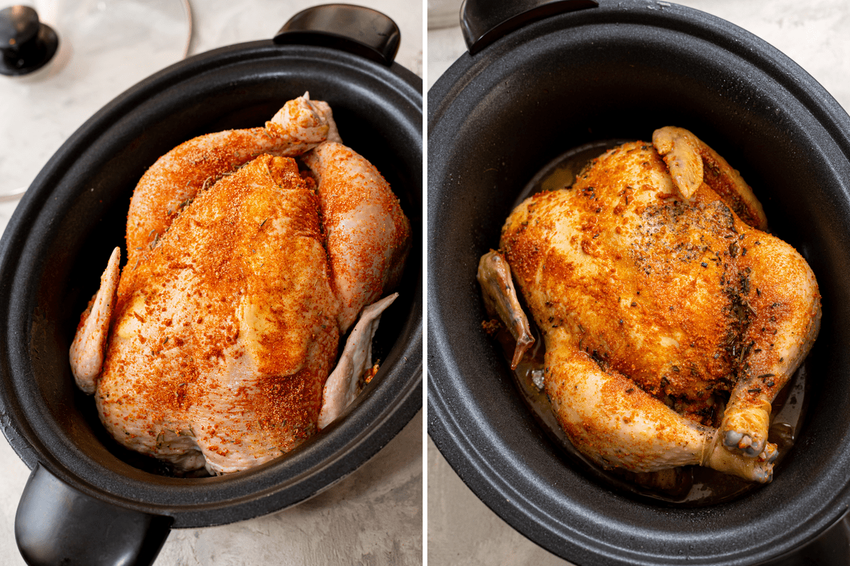 Whole chicken in the slow cooker.