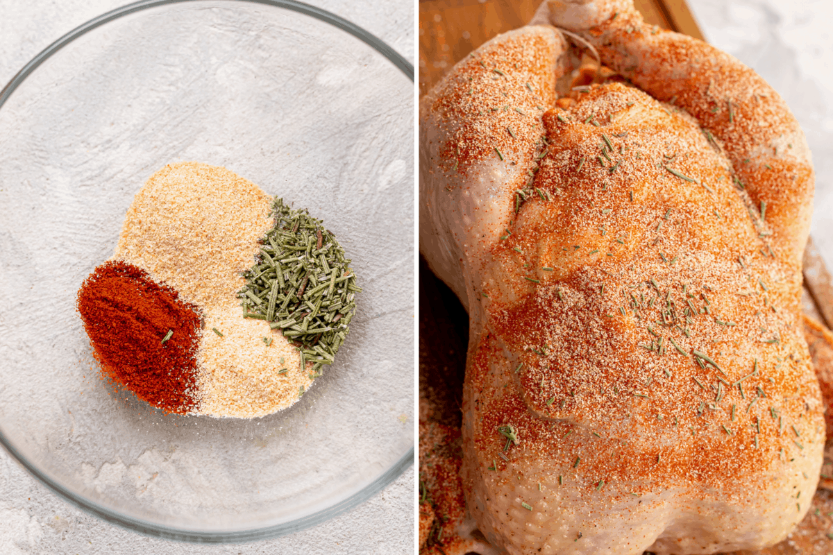 Dry rub ingredients for slow cooker whole chicken.