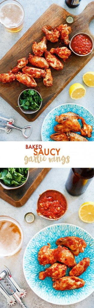 Baked Saucy Garlic Wings