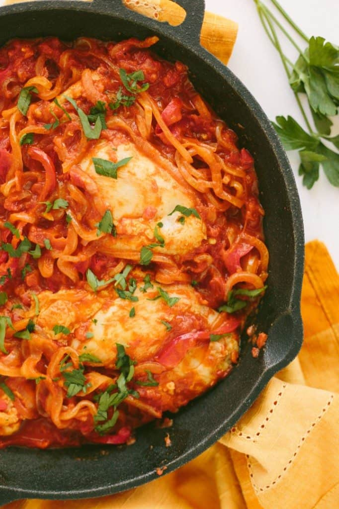 Chicken Paprikash with Spiralized Onions and Bell Peppers
