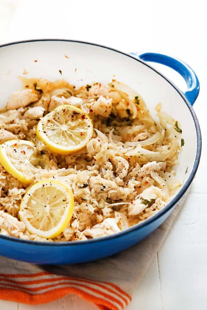 Lemon Garlic Chicken and Rice One-Pan Skillet