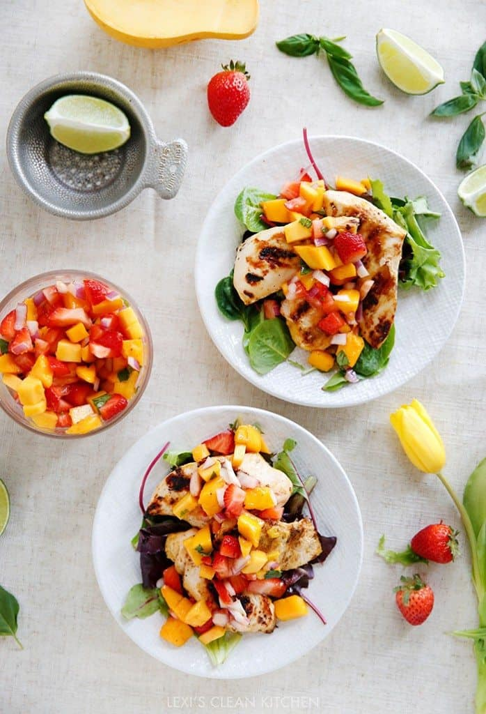Grilled Mango Chicken with Strawberry Mango Salsa