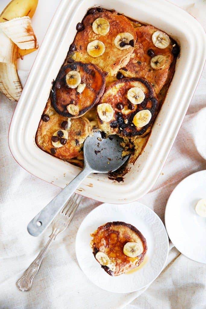 Chocolate Chip Banana Pancake Casserole