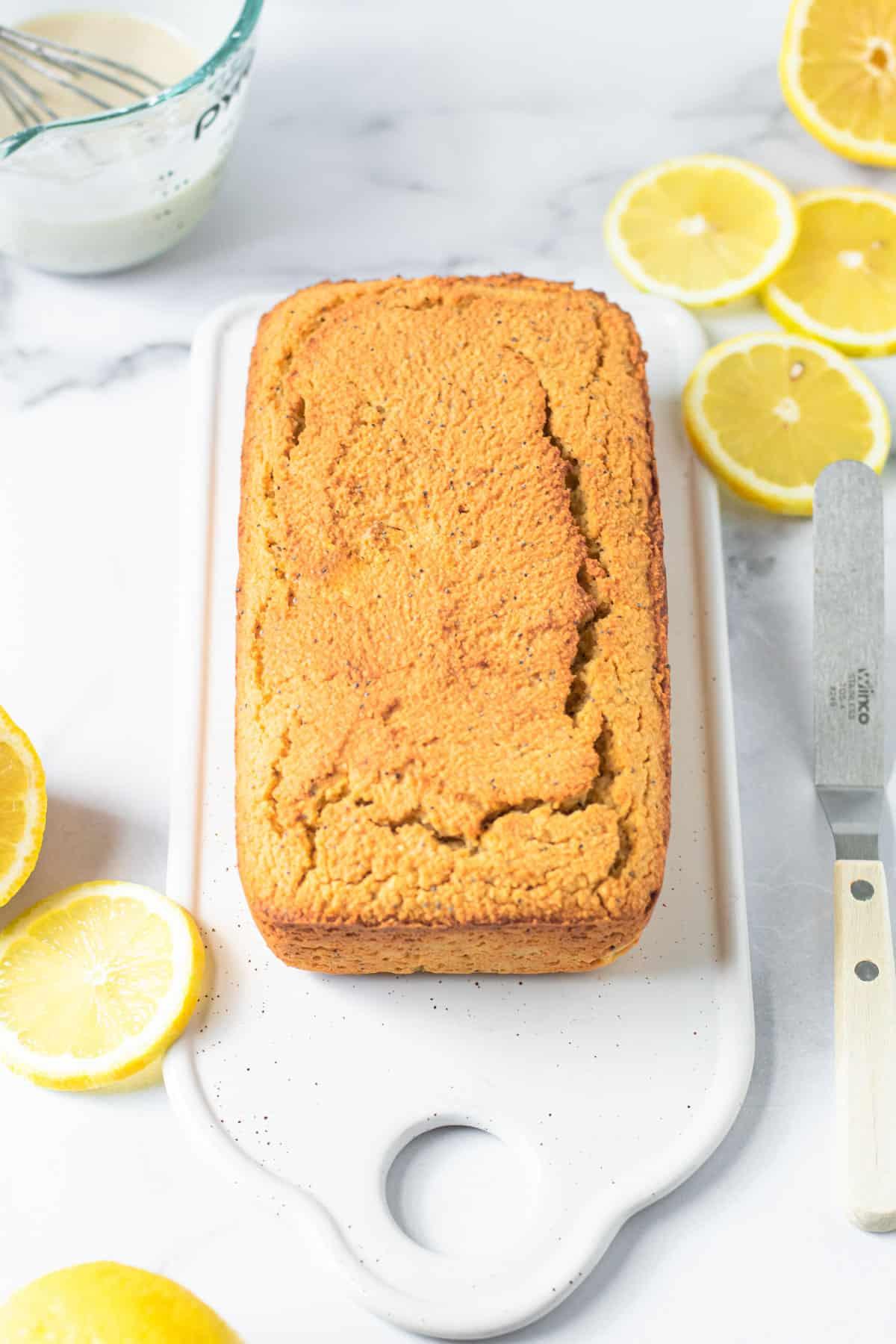 Baked healthy lemon poppy seed bread.