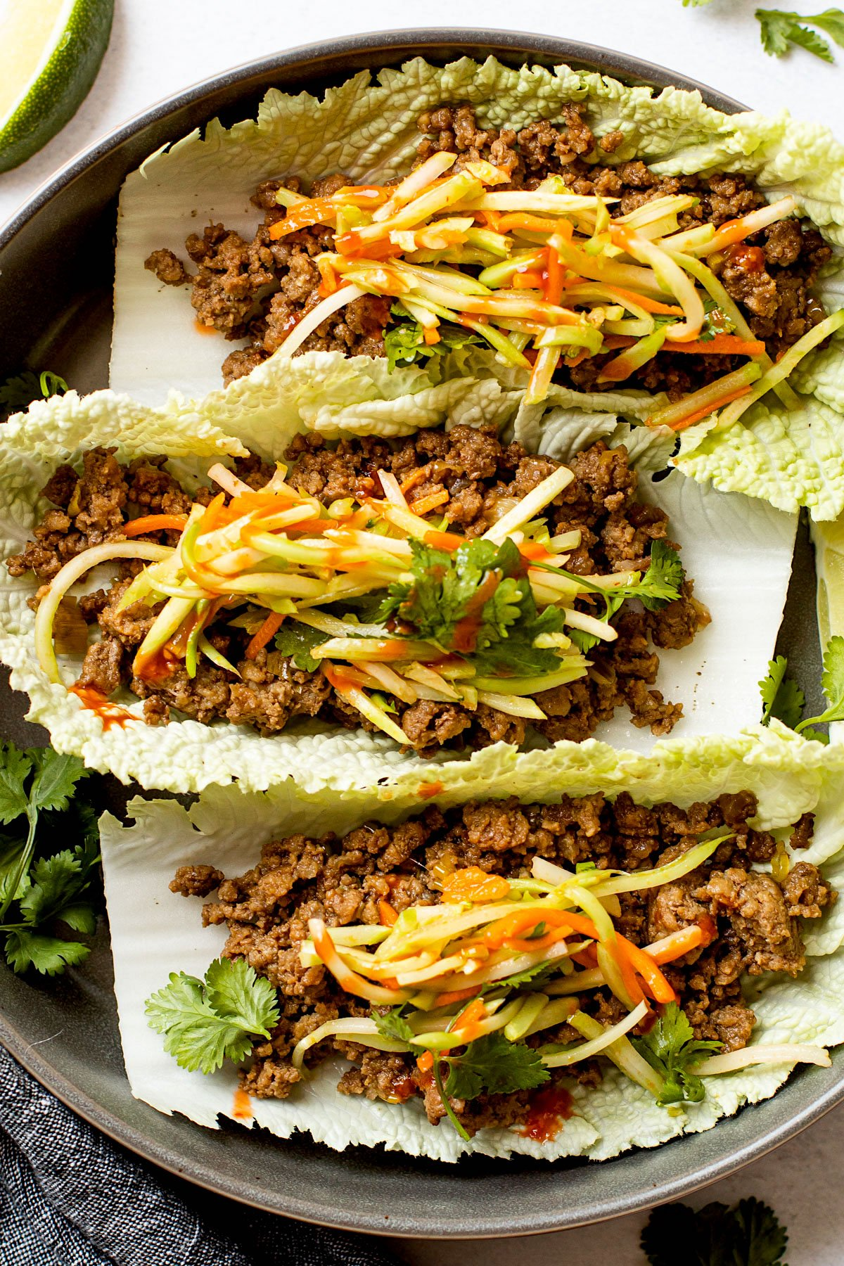 A plate with three asian cabbage wraps.