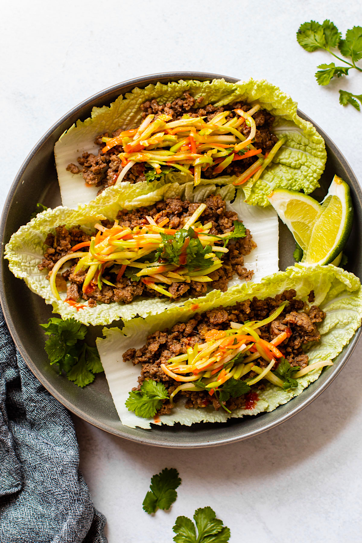 Asian beef cabbage wraps.
