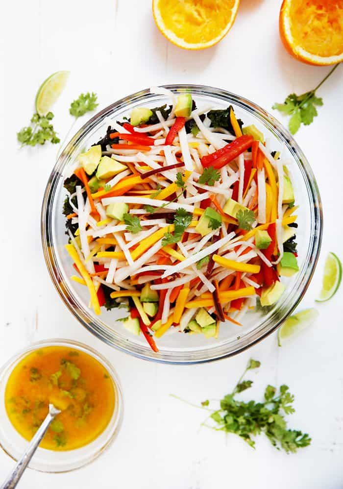 Jicama Kale Salad with Orange Lime Vinaigrette