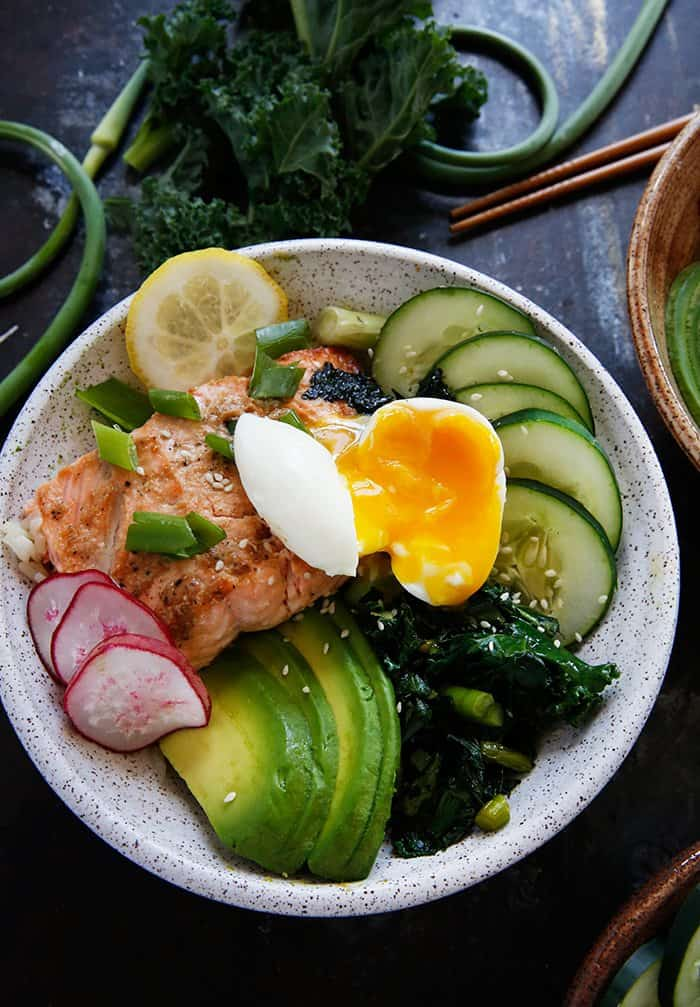 Grilled Fish Bowls with Garlic Scapes and Kale