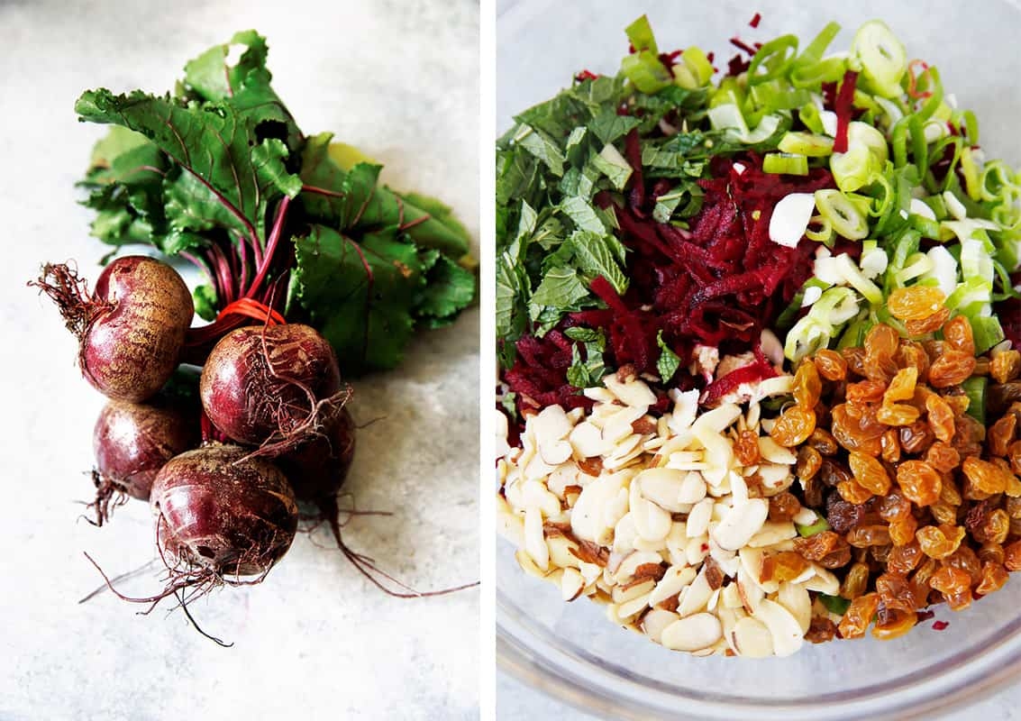Ingredients for raw beet slaw.