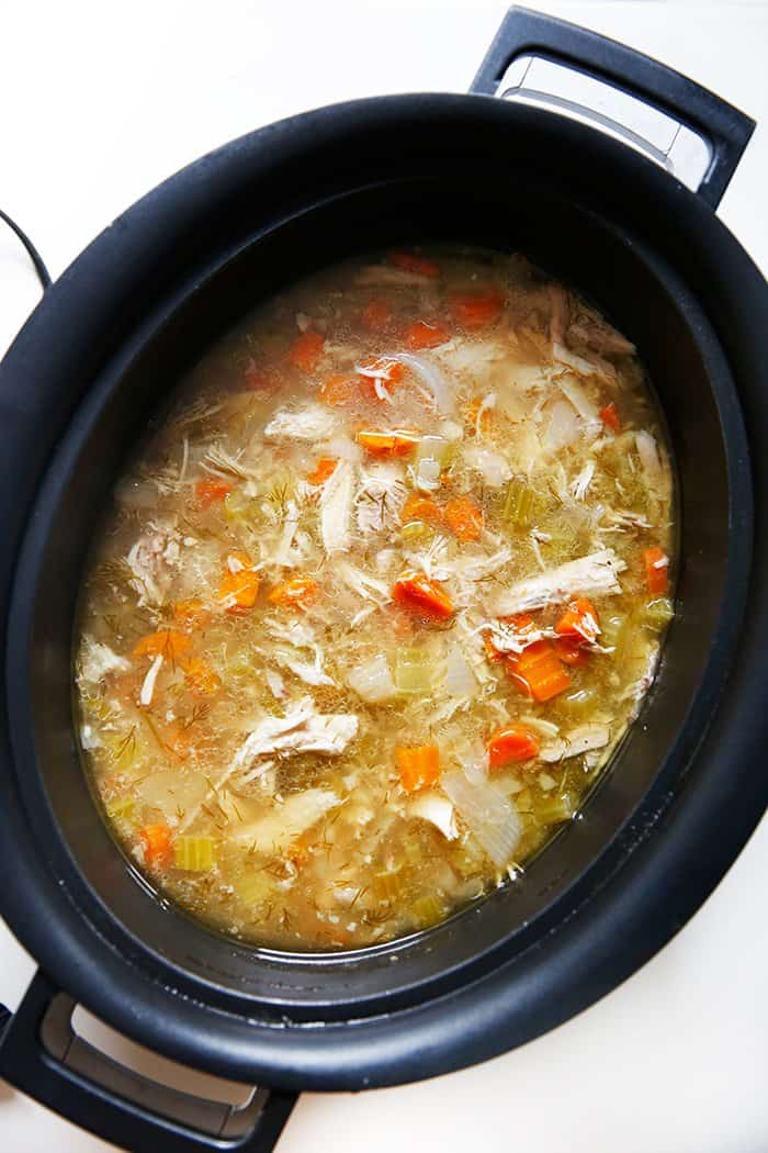 Classic chicken soup in the crockpot