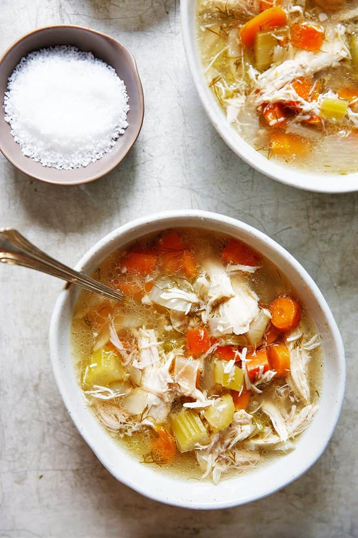 Crockpot chicken soup in a bowl