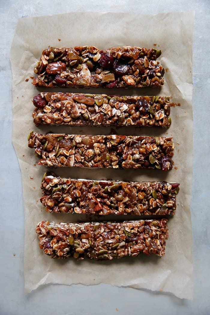 Trail Mix Granola Bars Recipe Sliced