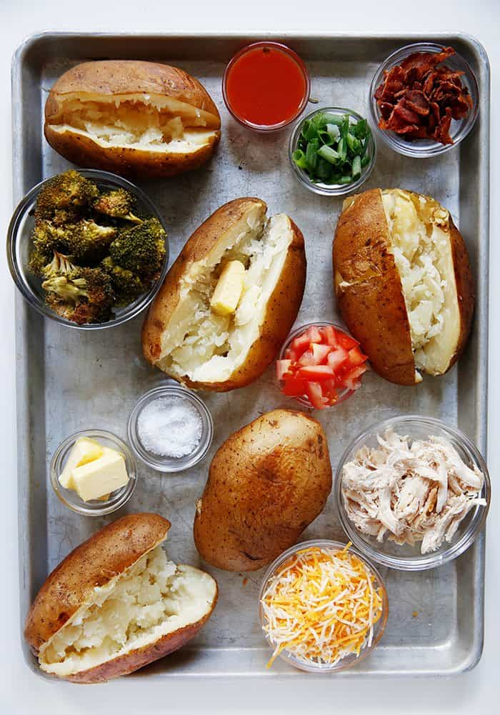 Slow Cooker Baked Potatoes with toppings
