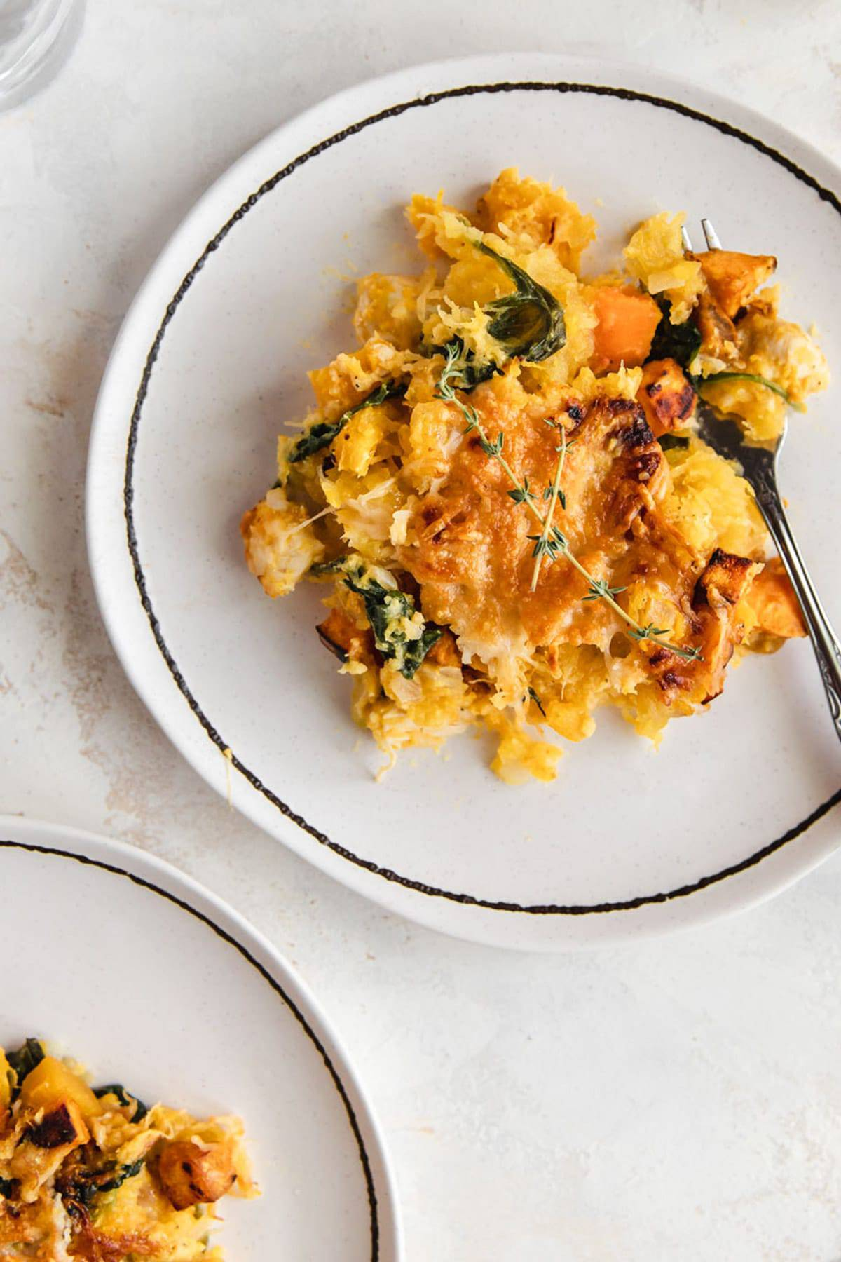Pumpkin casserole on a plate.