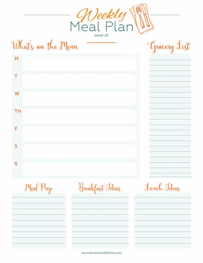 Weekly Menu Planner - Lexi's Clean Kitchen