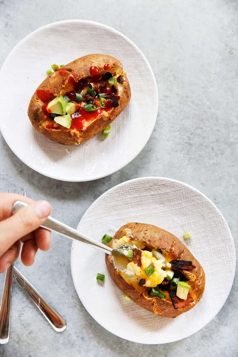 Slow Cooker Baked Potatoes and toppings